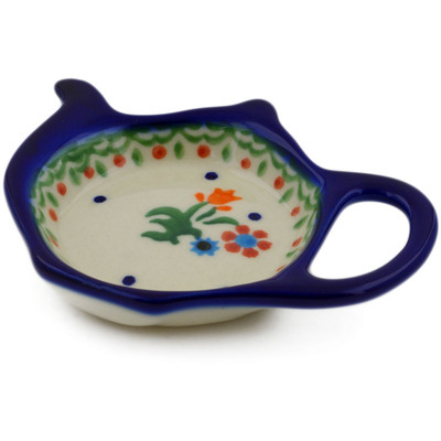 Certificate of Authenticity Texas Longhorns Theme Polish Pottery 4/½-inch Tea Bag or Lemon Plate made by Ceramika Artystyczna