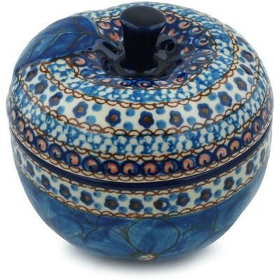 Polish Pottery 5-inch Apple Shaped Jar   Boleslawiec Stoneware   Polmedia H6879H