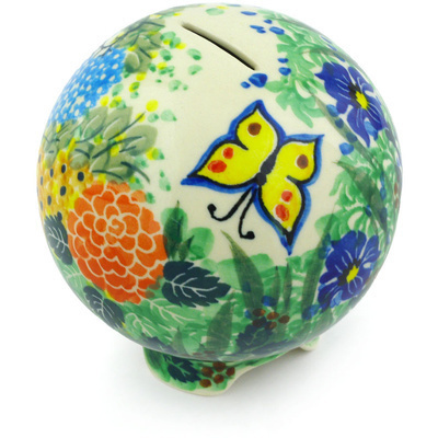Polish Pottery 4-inch Ball Piggy Bank | Boleslawiec Stoneware | Polmedia H5008G