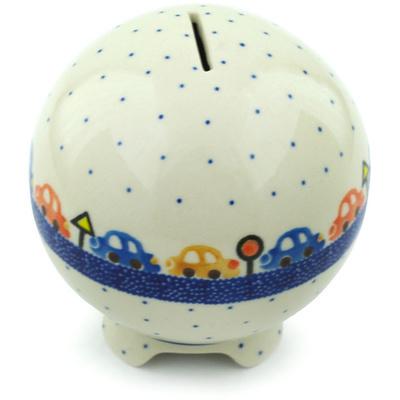 Polish Pottery 4-inch Ball Piggy Bank | Boleslawiec Stoneware | Polmedia H5255H