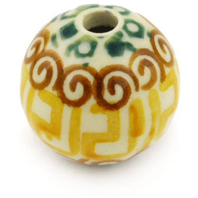 Polish Pottery 1-inch Bead | Boleslawiec Stoneware | Polmedia H7996C
