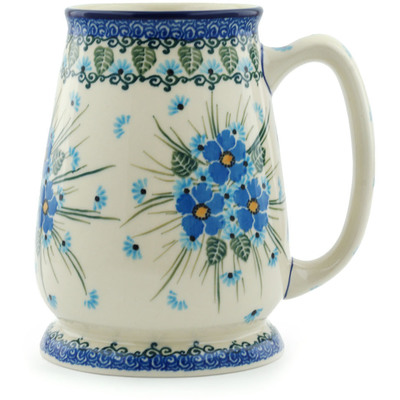 Polish Pottery 34 oz Beer Mug | Boleslawiec Stoneware | Polmedia H0695I