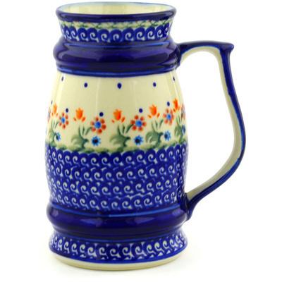 Polish Pottery 30 oz Beer Mug | Boleslawiec Stoneware | Polmedia H9254F