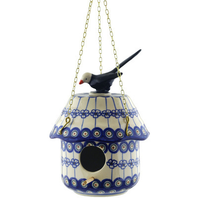 Polish Pottery 10-inch Birdhouse   Boleslawiec Stoneware   Polmedia H0705H
