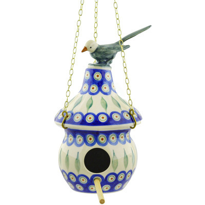 Polish Pottery 10-inch Birdhouse   Boleslawiec Stoneware   Polmedia H7059E
