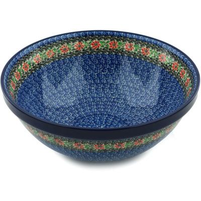 Polish Pottery 11-inch Bowl   Boleslawiec Stoneware   Polmedia H5275I