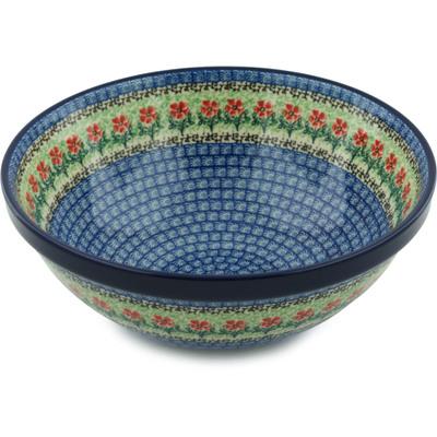 Polish Pottery 11-inch Bowl   Boleslawiec Stoneware   Polmedia H5276I