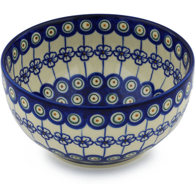 Polish Pottery 7-inch Bowl   Boleslawiec Stoneware   Polmedia H0456H