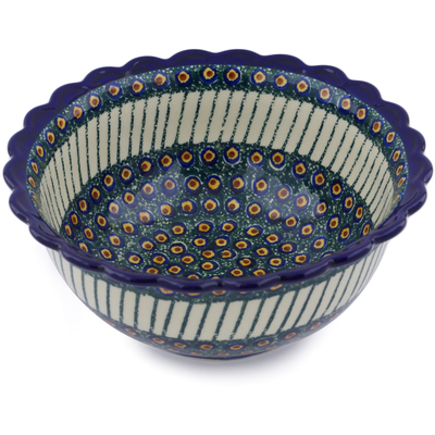 Polish Pottery 9-inch Bowl   Boleslawiec Stoneware   Polmedia H6751A