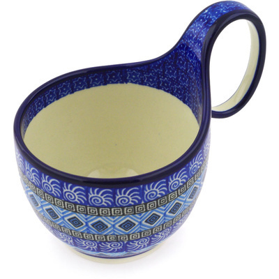 Polish Pottery 6-inch Bowl with Handles | Boleslawiec Stoneware | Polmedia H8604F