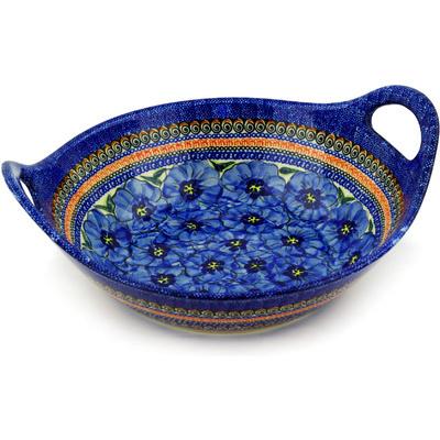 Polish Pottery 13-inch Bowl with Handles | Boleslawiec Stoneware | Polmedia H3590D