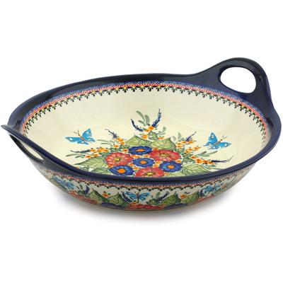 Polish Pottery 16-inch Bowl with Handles | Boleslawiec Stoneware | Polmedia H8881B