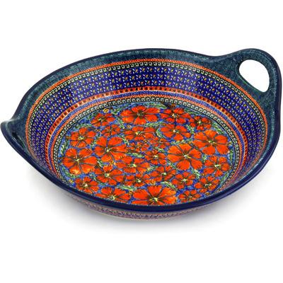 Polish Pottery 16-inch Bowl with Handles | Boleslawiec Stoneware | Polmedia H3560D