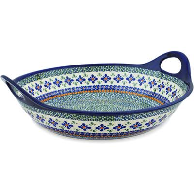 Polish Pottery 16-inch Bowl with Handles   Boleslawiec Stoneware   Polmedia H3508C