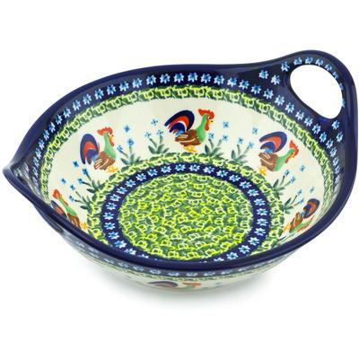 Polish Pottery 10-inch Bowl with Handles | Boleslawiec Stoneware | Polmedia H5874I