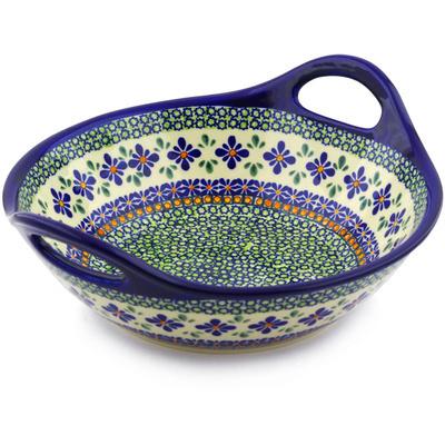 Polish Pottery 12-inch Bowl with Handles | Boleslawiec Stoneware | Polmedia H4779I