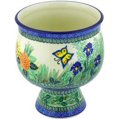 Polish Pottery 9-inch Bowl with Pedestal | Boleslawiec Stoneware | Polmedia H4428G