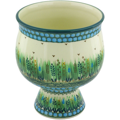Polish Pottery 9-inch Bowl with Pedestal | Boleslawiec Stoneware | Polmedia H4491G