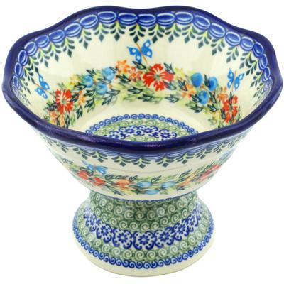 Polish Pottery 7-inch Bowl with Pedestal | Boleslawiec Stoneware | Polmedia H8229H