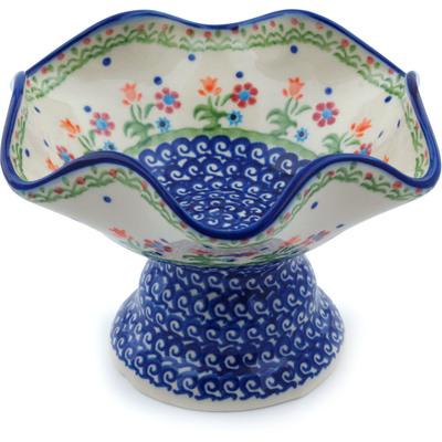 Polish Pottery 7-inch Bowl with Pedestal | Boleslawiec Stoneware | Polmedia H0404C