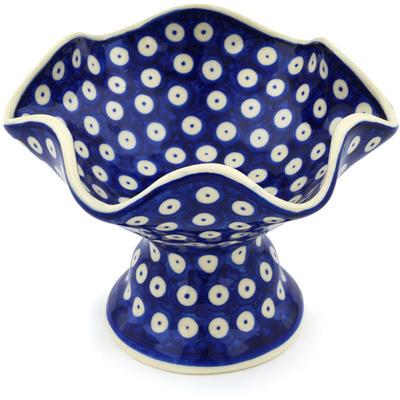 Polish Pottery 7-inch Bowl with Pedestal | Boleslawiec Stoneware | Polmedia H0422H