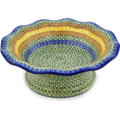 Polish Pottery 13-inch Bowl with Pedestal | Boleslawiec Stoneware | Polmedia H1835D