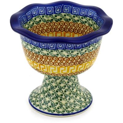 Polish Pottery 5-inch Bowl with Pedestal | Boleslawiec Stoneware | Polmedia H0165D
