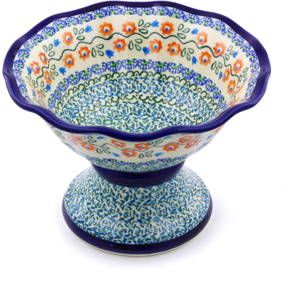 Polish Pottery 8-inch Bowl with Pedestal | Boleslawiec Stoneware | Polmedia H8135I