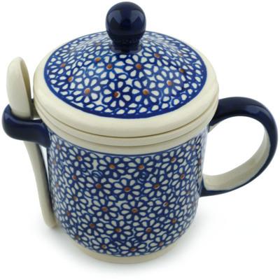 Polish Pottery 12 oz Brewing Mug with Spoon | Boleslawiec Stoneware | Polmedia H4160I