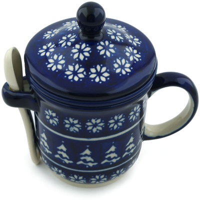 Polish Pottery 12 oz Brewing Mug with Spoon   Boleslawiec Stoneware   Polmedia H4169I