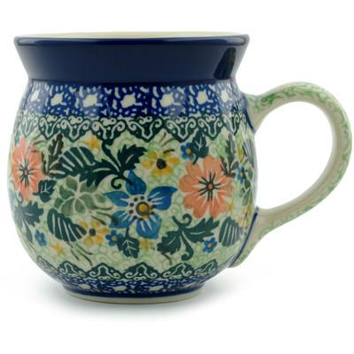 Polish Pottery 16 oz Bubble Mug | Boleslawiec Stoneware | Polmedia H5203I