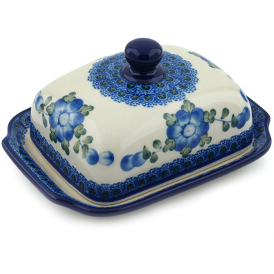 Polish Pottery 7-inch Butter Dish | Boleslawiec Stoneware | Polmedia H5066A