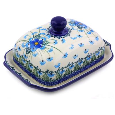 Polish Pottery 7-inch Butter Dish | Boleslawiec Stoneware | Polmedia H0734I