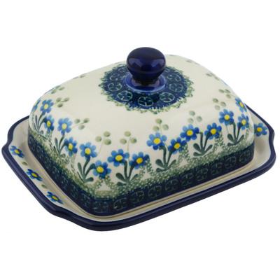 Polish Pottery 7-inch Butter Dish | Boleslawiec Stoneware | Polmedia H2672B