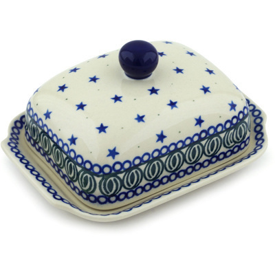 Polish Pottery 7-inch Butter Dish | Boleslawiec Stoneware | Polmedia H1368H