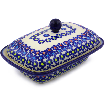Polish Pottery 7-inch Butter Dish | Boleslawiec Stoneware | Polmedia H9229I