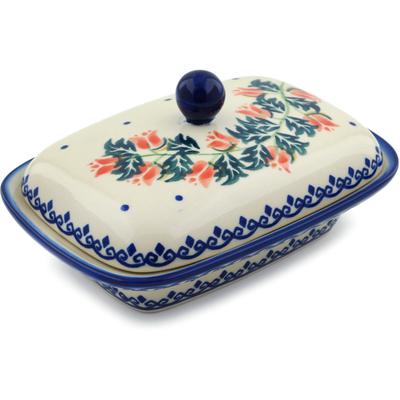Polish Pottery 7-inch Butter Dish | Boleslawiec Stoneware | Polmedia H5703I