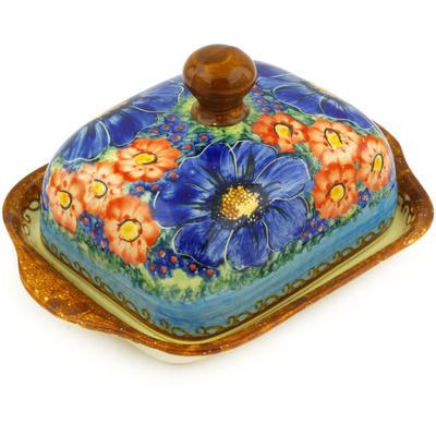 Polish Pottery 8-inch Butter Dish | Boleslawiec Stoneware | Polmedia H7247E