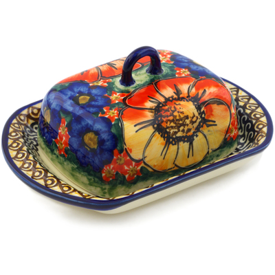 Polish Pottery 6-inch Butter Dish | Boleslawiec Stoneware | Polmedia H4918I