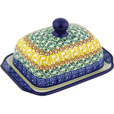 Polish Pottery 6-inch Butter Dish | Boleslawiec Stoneware | Polmedia H5146G