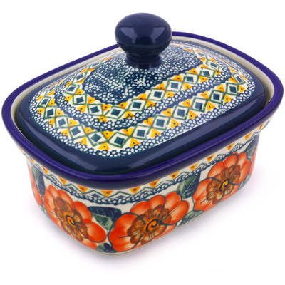 Polish Pottery 6-inch Butter Dish | Boleslawiec Stoneware | Polmedia H3395C