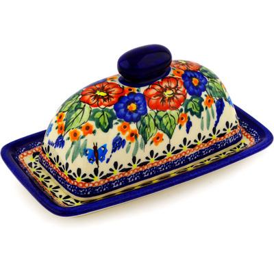 Polish Pottery 7-inch Butter Dish | Boleslawiec Stoneware | Polmedia H8327C