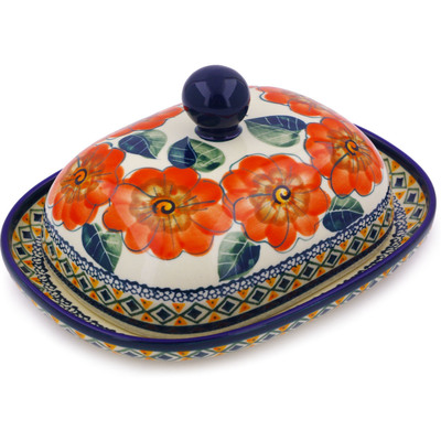 Polish Pottery 8-inch Butter Dish   Boleslawiec Stoneware   Polmedia H3535C