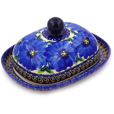 Polish Pottery 8-inch Butter Dish | Boleslawiec Stoneware | Polmedia H3537C