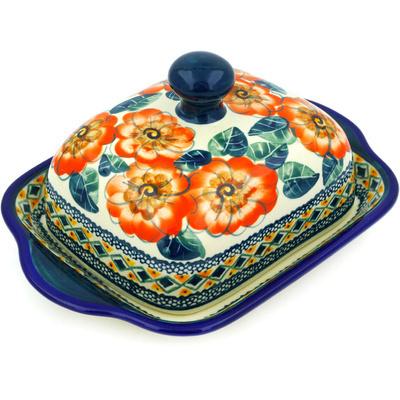 Polish Pottery 8-inch Butter Dish | Boleslawiec Stoneware | Polmedia H8507C