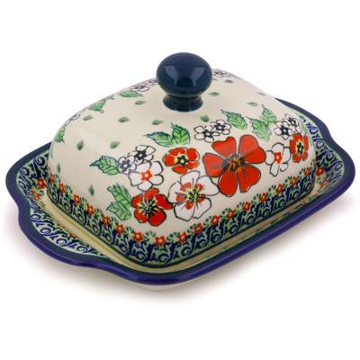 Polish Pottery 8-inch Butter Dish | Boleslawiec Stoneware | Polmedia H4343I