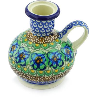 Polish Pottery 4-inch Candle Holder   Boleslawiec Stoneware   Polmedia H5081G