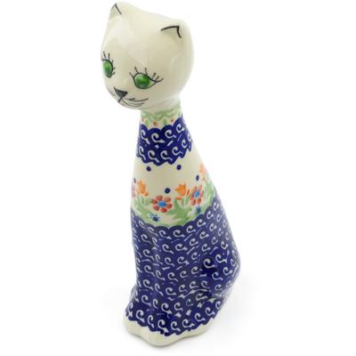 Polish Pottery 8-inch Cat Figurine | Boleslawiec Stoneware | Polmedia H3694E