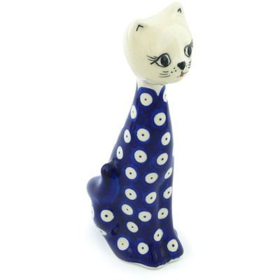 Polish Pottery 8-inch Cat Figurine | Boleslawiec Stoneware | Polmedia H3227H