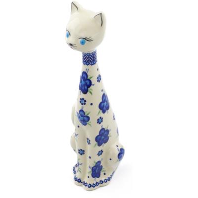 Polish Pottery 13-inch Cat Figurine | Boleslawiec Stoneware | Polmedia H4966F